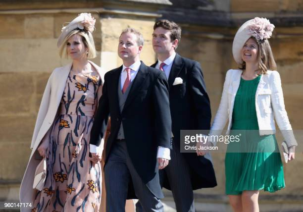 Guy Pelly and wife Elizabeth Wilson and guests attend the wedding of Prince Harry to Ms Meghan Markle at St George's Chapel Windsor Castle on May 19...