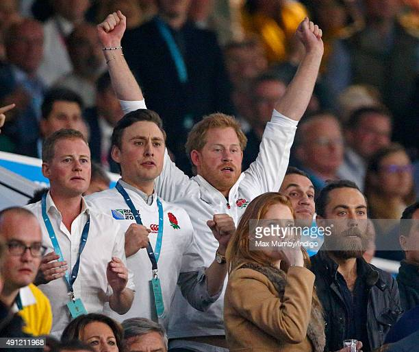 Guy Pelly Charlie van Straubenzee Prince Harry and James Middleton attend the England v Australia match during the Rugby World Cup 2015 at Twickenham...