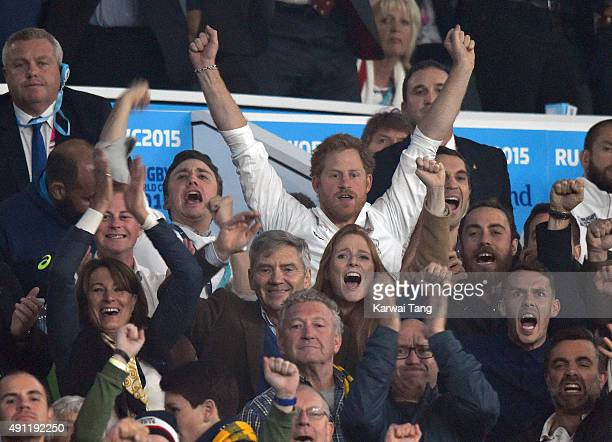 Guy Pelly Prince Harry Carole Middleton Michael Middleton and James Middleton attend the England v Australia match during the Rugby World Cup 2015 on...