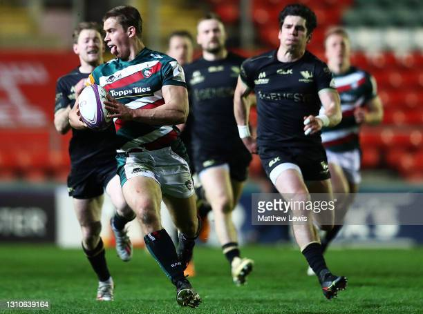 Guy Porter of Leicester Tigers makes a break during the European Rugby Challenge Cup match between Leicester Tigers and Connacht at Welford Road on...
