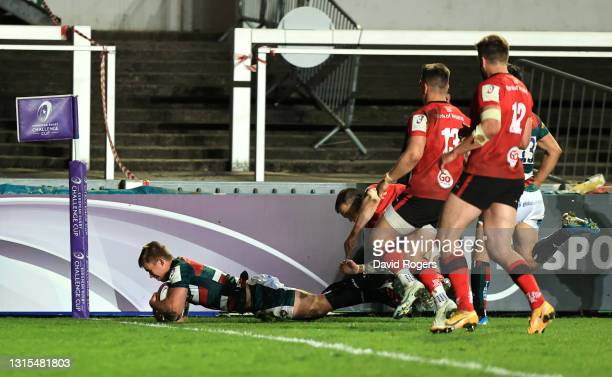 Guy Porter of Leicester Tigers scores his team's third try during the European Rugby Challenge Cup match between Leicester Tigers and Ulster Rugby at...