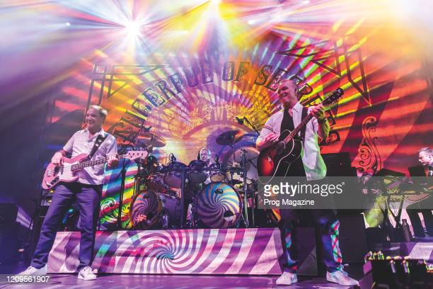 Guy Pratt Nick Mason and Gary Kemp of progressive rock group Nick Masons Saucerful Of Secrets performing live on stage at The Roundhouse in London on...