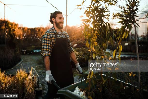 庭でカートを押す男 - 造園師 ストックフォトと画像