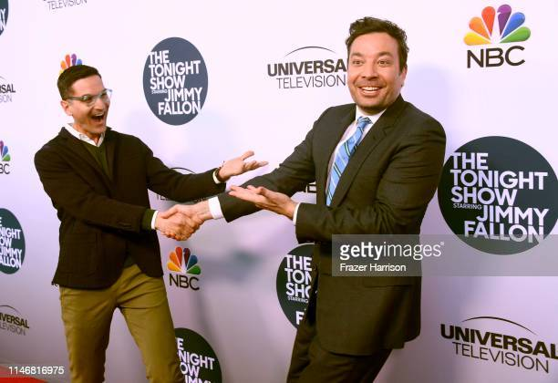 """Guy Raz and Jimmy Fallon attend the FYC Event For NBC's """"The Tonight Show Starring Jimmy Fallon"""" at The WGA Theater on May 03, 2019 in Beverly Hills,..."""
