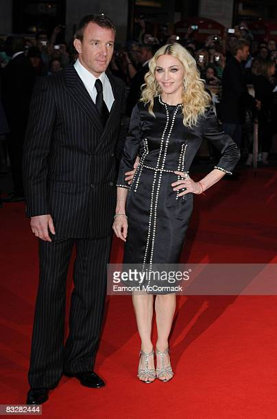 Guy Richie and Madonna attend the world premiere of 'RocknRolla' at Odeon West End on September 1 2008 in London England