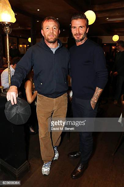 Guy Ritchie and David Beckham attend the Kent Curwen dinner with Mr Porter at Little Social on November 16 2016 in London England