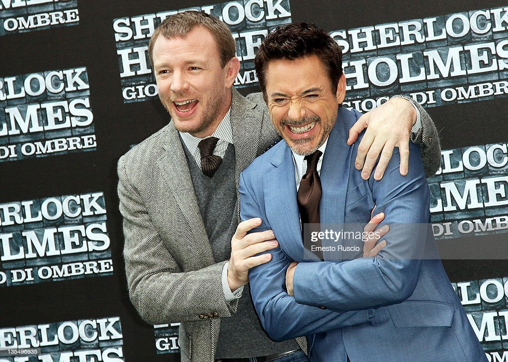 Guy Ritchie and Robert Downey Jr attend the 'Sherlock Holmes: A Game of Shadows' photocall at Hotel Hassler on December 11, 2011 in Rome, Italy.