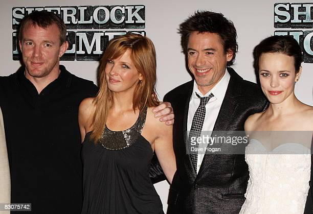 Guy Ritchie Kelly Reilly Robert Downey Jr and Rachel McAdams attend a preproduction press conference for 'Sherlock Holmes' at the Freemasons Hall on...