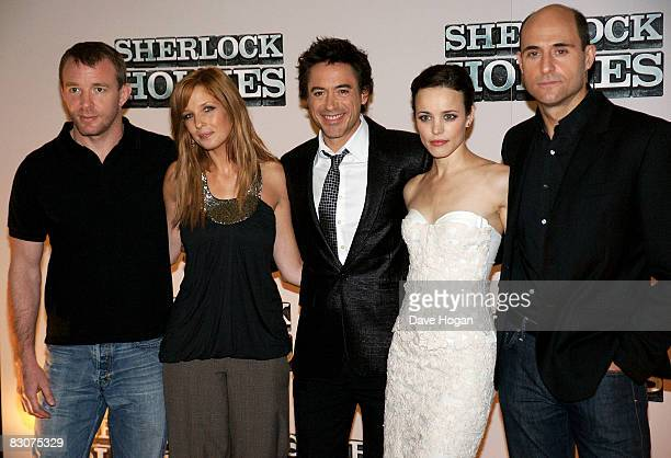 Guy Ritchie Kelly Reilly Robert Downey Jr Rachel McAdams and Mark Strong attend a preproduction press conference for 'Sherlock Holmes' at the...
