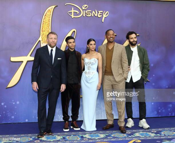 Guy Ritchie Mena Massoud Naomi Scott Will Smith and Marwan Kenzari attend the Aladdin European Gala Screening at the Odeon Luxe Leicester Square