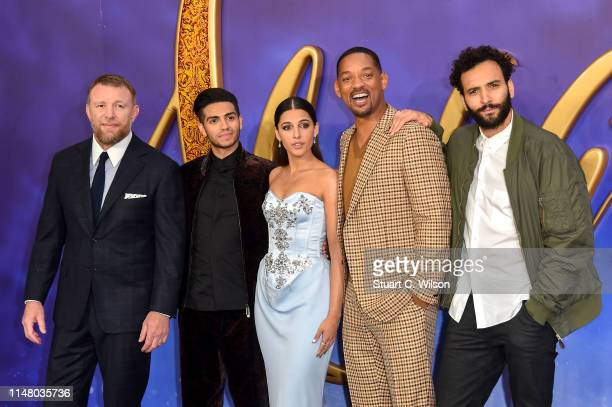 """Guy Ritchie, Mena Massoud, Naomi Scott, Will Smith and Marwan Kenzari attend the """"Aladdin"""" European Gala at Odeon Luxe Leicester Square on May 09,..."""