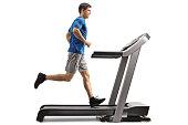 Guy running on a treadmill