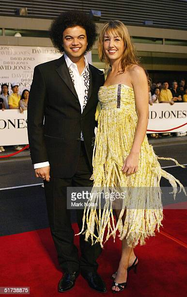 Guy Sebastian and Jules Egan arrive at the David Jones Launch Party at Elizabeth Street on November 13 2004 in Sydney Australia