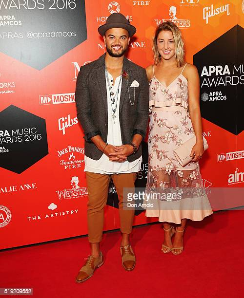 Guy Sebastian and Jules Egan attend the 2016 APRA Music Awards at Carriageworks on April 5 2016 in Sydney Australia