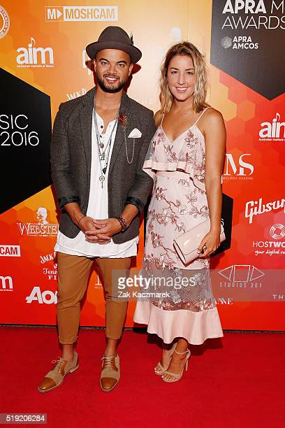Guy Sebastian and Jules Egan attends the 2016 APRA Music Awards at Carriageworks on April 5 2016 in Sydney Australia