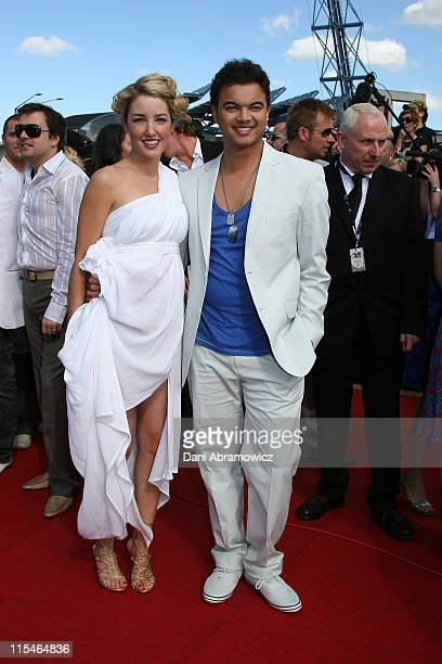 Guy Sebastian and Jules Egan during 2006 ARIA Awards Arrivals at Acer Arena Sydney Olympic Park in Sydney NSW Australia