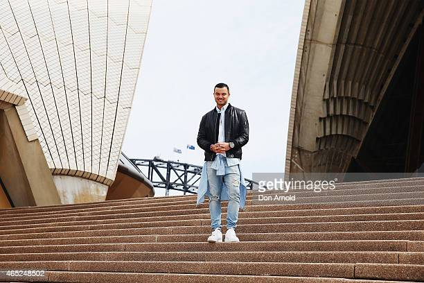 Guy Sebastian Australia's entrant for the 2015 Eurovision Song Contest poses at the Eurovision Song Contest Announcement event at Sydney Opera House...
