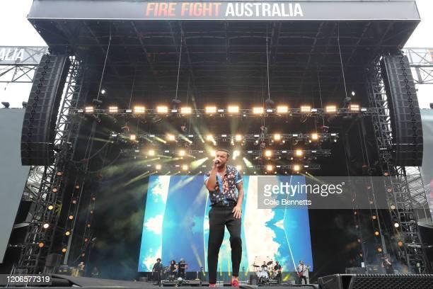 Guy Sebastian performs during Fire Fight Australia at ANZ Stadium on February 16, 2020 in Sydney, Australia.