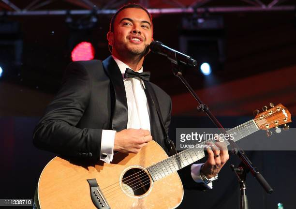 Guy Sebastian performs during the Myer event to celebrate Myer Bourke Street reopening and 100th birthday on March 31 2011 in Melbourne Australia