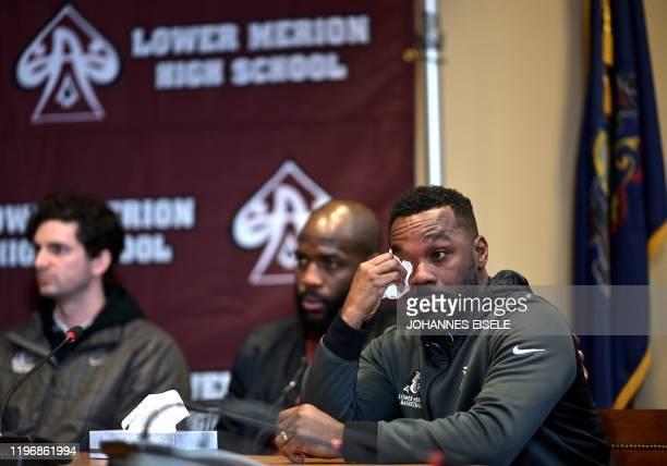 Guy Stewart a friend of Kobe Bryant speaks during a press conference at Lower Merion High School where basketball legend Kobe Bryant formally...