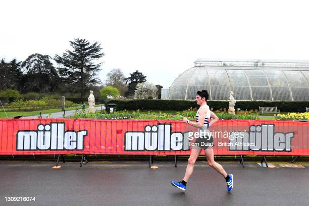 Guy Thomas competes in the mens 20km walking race during the Muller British Athletics Marathon and 20km Walk Trials at Kew Gardens on March 26, 2021...
