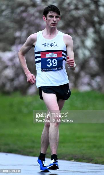 Guy Thomas in action as he competes in the mens 20km walking race during the Muller British Athletics Marathon and 20km Walk Trials at Kew Gardens on...