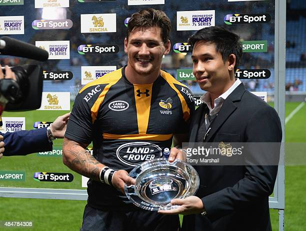 Guy Thompson Captain of Wasps receives the silver plate after winning the Singha Premiership Rugby 7s Series Coventry at Ricoh Arena on August 21...
