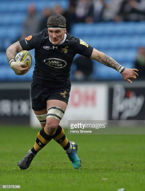 Guy Thompson of Wasps during the Aviva Premiership match between Wasps and Exeter Chiefs at The Ricoh Arena on February 18 2018 in Coventry England