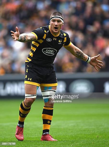Guy Thompson of Wasps looks on during the Aviva Premiership match between Wasps and Exeter Chiefs at Ricoh Arena on September 4 2016 in Coventry...