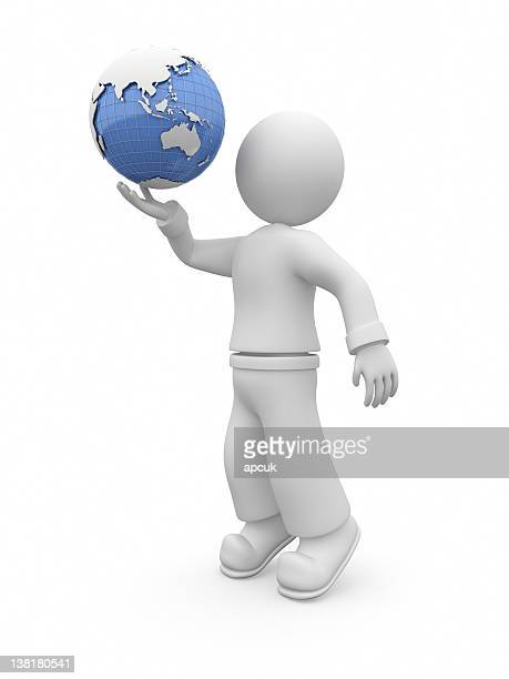 3D guy throw up globe.