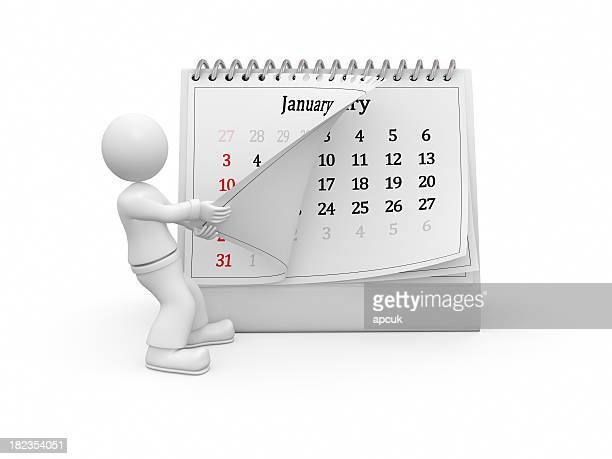 3D guy turning over the calendar page. January.