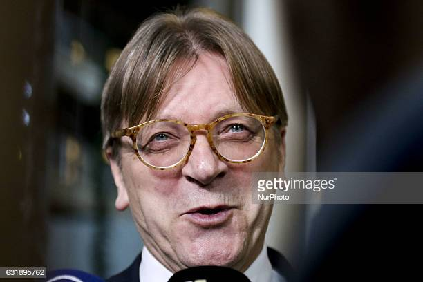 Guy Verhofstadt Alliance of liberals and Democrats for Europe group leader and Belgian member of the European Parliament on during the election for...