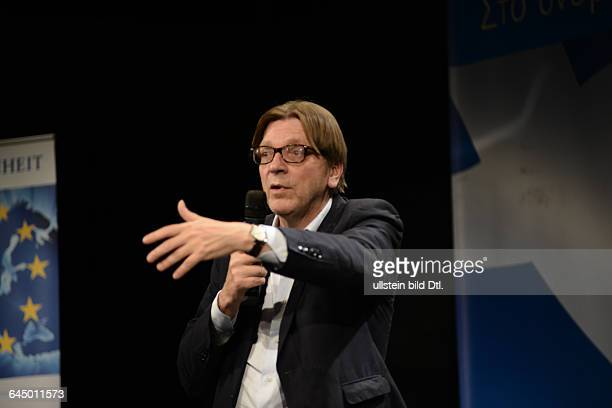 Guy Verhofstadt and Stavros Theodorakis two liberal politicians presenting an European masterplan to overcome the Eurofinance crisis on April 24 2015...