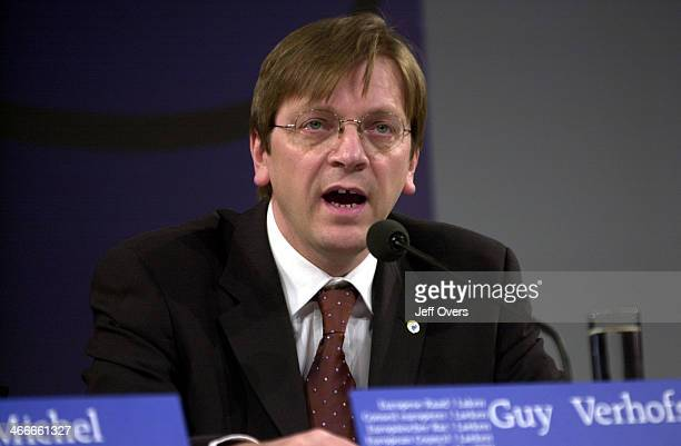 Guy Verhofstadt Belgium PM Prime Minister at the European Commissioners meeting in Brussels