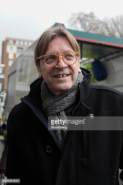 Guy Verhofstadt Brexit negotiator for the European Parliament arrives at Chatham House to deliver a speech in London UK on Monday Jan 30 2017 'We're...