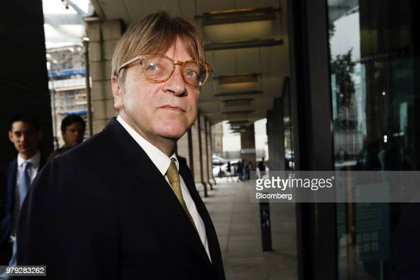 Guy Verhofstadt Brexit negotiator for the European Parliament arrives at Portcullis House in London UK on Wednesday June 20 2018 The European Union...