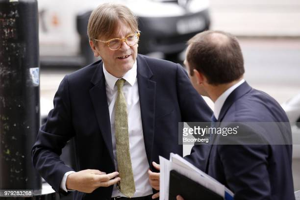 Guy Verhofstadt Brexit negotiator for the European Parliament left arrives at Portcullis House in London UK on Wednesday June 20 2018 The European...