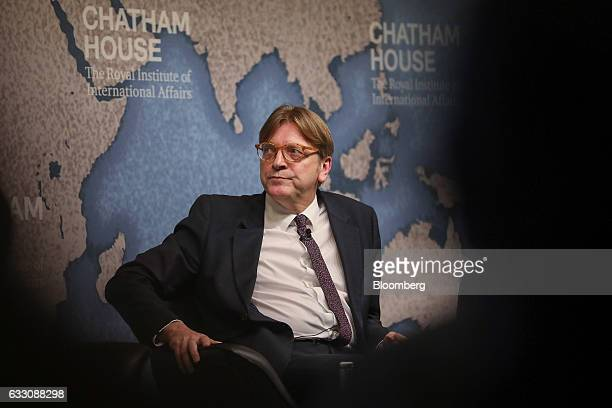 Guy Verhofstadt Brexit negotiator for the European Parliament looks on before delivering a speech at Chatham House in London UK on Monday Jan 30 2017...