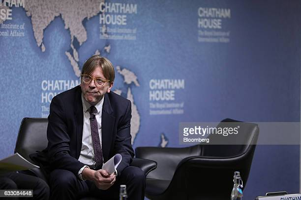 Guy Verhofstadt Brexit negotiator for the European Parliament pauses before delivering a speech at Chatham House in London UK on Monday Jan 30 2017...