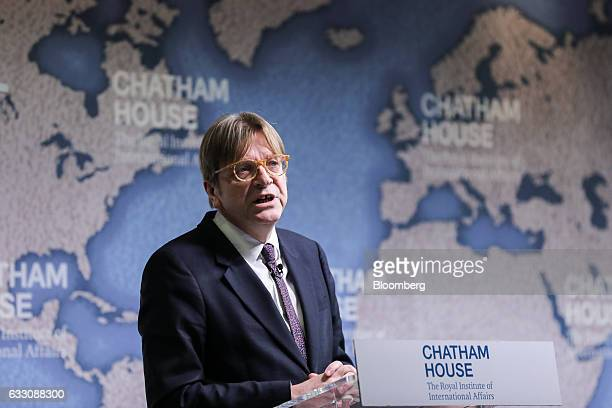Guy Verhofstadt Brexit negotiator for the European Parliament speaks at Chatham House in London UK on Monday Jan 30 2017 'We're looking for fair...