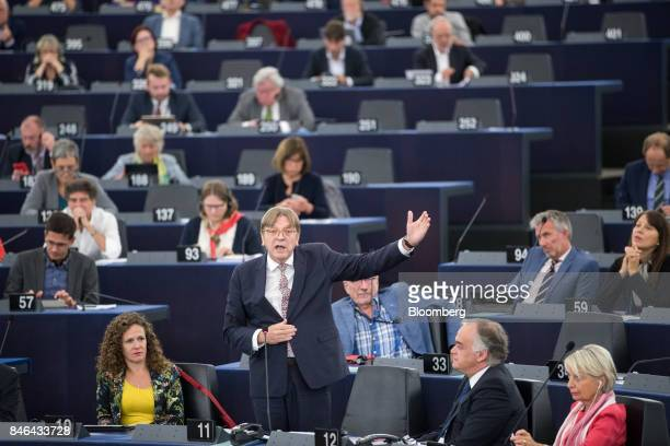 Guy Verhofstadt Brexit negotiator for the European Parliament speaks during the State of the Union address at the European Parliament in Strasbourg...