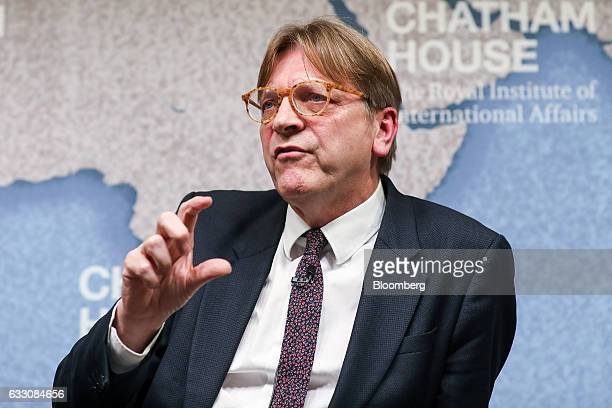 Guy Verhofstadt Brexit negotiator for the European Parliament gestures while speaking at Chatham House in London UK on Monday Jan 30 2017 'We're...