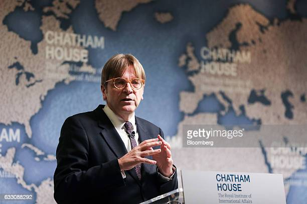 Guy Verhofstadt Brexit negotiator for the European Parliament gestures while delivering a speech at Chatham House in London UK on Monday Jan 30 2017...