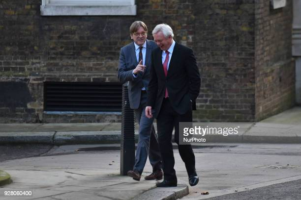 Guy Verhofstadt Member of the European Parliament and Brexit minister David Davis arrive at Downing Street to attend a meeting with Brexit staff and...