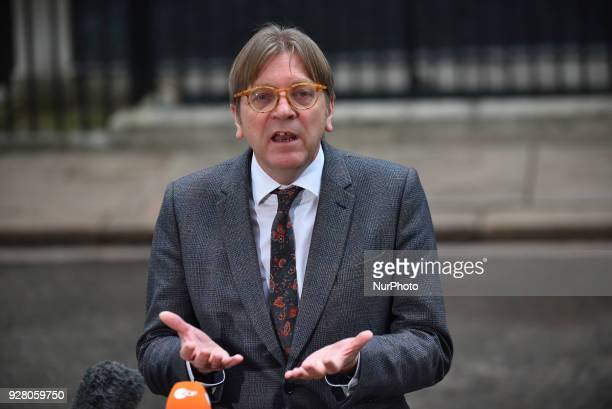 Guy Verhofstadt Member of the European Parliament speaks to the press at Downing Street following a meeting with Brexit staff the Prime Minister...