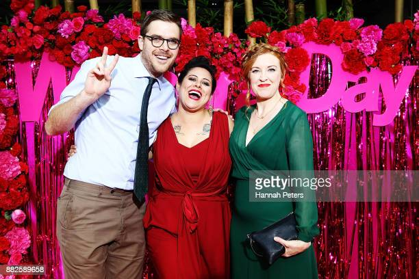 Guy Williams Anika Moa and Natasha Utting arrive ahead of the NZ TV Awards at Sky City on November 30 2017 in Auckland New Zealand