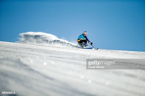 Guy with a wheelchair sled skiing fast.