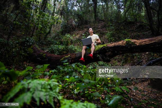 guy working with laptop in remote place with nature and fallen tree. - remote location stock pictures, royalty-free photos & images