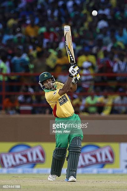 Guyana Amazon Warriors batsman Mohammed Hafeez in action during a match between Guyana Amazon Warriors and Jamaica Tallawahs as part of the week 2 of...