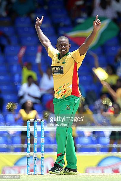 Guyana Amazon Warriors bowler Navin Stewart celebrates one of his wickets during a match between Guyana Amazon Warriors and St Lucia Zouks as part of...